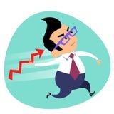 Biznesmen rzuca oszczepowego rozkład sprzedaż tematu biznesowy sp Fotografia Stock
