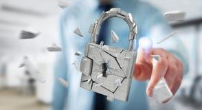 Biznesmen sieka w łamanym kłódki ochrony 3D renderingu Fotografia Stock