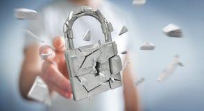 Biznesmen sieka w łamanym kłódki ochrony 3D renderingu Obrazy Stock