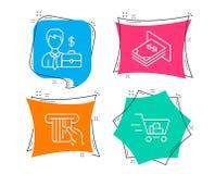 Biznesmen skrzynka, Kredytowa karta i Atm pieniądze ikony, Wózek na zakupy znak Obrazy Stock