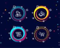 Biznesmen skrzynka, Kredytowa karta i Atm pieniądze ikony, Wózek na zakupy znak Fotografia Royalty Free