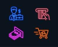 Biznesmen skrzynka, Kredytowa karta i Atm pieniądze ikony, Wózek na zakupy znak Fotografia Stock