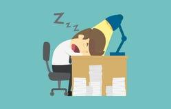 Biznesmen spada uśpiony przy jego biurkiem Kreskówka biznesowy fail jest Obraz Stock