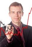 biznesmen sporządzać mapę remisy wzrostowych Zdjęcie Stock