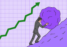 Biznesmen stacza się głaz up w wzgórzu Obraz Stock