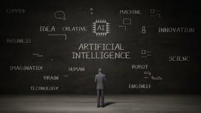 Biznesmen stoi czerni ścianę, Handwriting cyfrowa ikona, pojęcie 'Sztuczna inteligencja' przy chalkboard royalty ilustracja