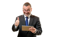 Biznesmen sygnalizuje jego zatwierdzenie i sukces Fotografia Stock