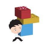 Biznesmen szczęśliwy i przynosi pudełka, towary, prezent dostawę dla wysyłać i usługowego 24hrs pojęcie odizolowywającego na biał Zdjęcie Stock