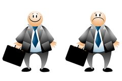 biznesmen szczęśliwy kreskówki smutny Zdjęcie Stock