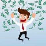 Biznesmen szczęśliwy z pieniądze spływaniem w powietrzu Fotografia Royalty Free