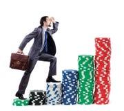 biznesmen szczerbi się wspinaczkowe sterty Obrazy Stock
