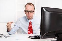 Biznesmen, szkła agresywni Zdjęcie Stock