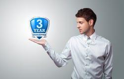 Biznesmen target911_1_ osłona wirtualnego znaka Zdjęcie Royalty Free