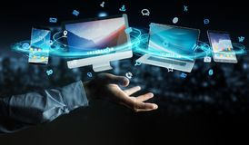 Biznesmen techniki złączeni przyrząda i ikon zastosowania 3D ponowni Obrazy Royalty Free