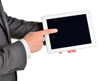 Biznesmen trzyma cyfrową pastylkę, zbliżenie obrazy royalty free
