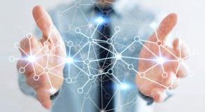 Biznesmen trzyma cyfrową sieć przesyłania danych w jego ręki 3D renderin Obraz Royalty Free