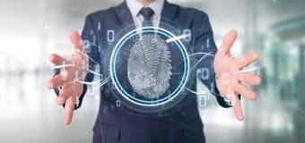 Biznesmen trzyma Cyfrowego odcisk palca identyfikacji i binarnego kodu 3d rendering obrazy royalty free