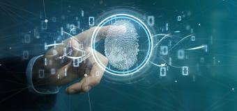 Biznesmen trzyma Cyfrowego odcisku palca kosz i identyfikację ilustracja wektor