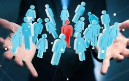 Biznesmen trzyma 3D odpłaca się grupy ludzi w jego ręce Zdjęcia Stock