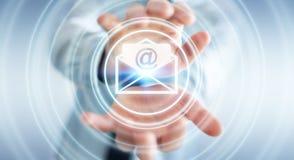 Biznesmen trzyma 3D renderingu emaila latającą ikonę w jego ręce Zdjęcie Royalty Free