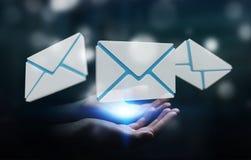 Biznesmen trzyma 3D renderingu emaila latającą ikonę w jego ręce Obraz Stock