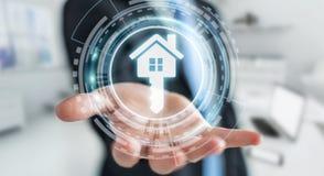 Biznesmen trzyma 3D renderingu ikony dom w jego ręce Fotografia Stock
