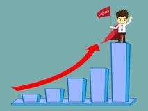 Biznesmen trzyma flaga który udaje się na górze wykresu Fotografia Stock