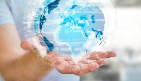 Biznesmen trzyma globalną sieć na planety ziemi 3D renderingu Zdjęcia Stock