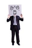 Biznesmen trzyma gniewnego wyrażeniowego billboard zdjęcia royalty free