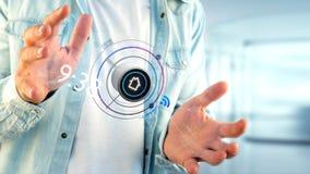 Biznesmen trzyma guzika mądrze domowa automatyzacja app - 3d Fotografia Royalty Free