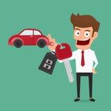 Biznesmen trzyma kluczowego pierścionek Samochodowego wynajem lub sprzedaży pojęcie Zdjęcia Royalty Free