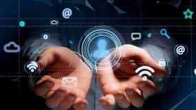 Biznesmen trzyma kontakt ikony otaczanie app i socjalny zdjęcie royalty free