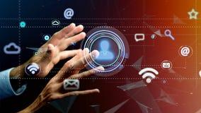 Biznesmen trzyma kontakt ikony otaczanie app i socjalny zdjęcia royalty free
