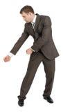 Biznesmen trzyma niewidzialną cioskę Obraz Royalty Free