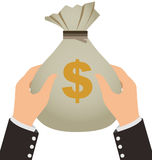 Biznesmen trzyma pieniądze torbę ilustracja wektor