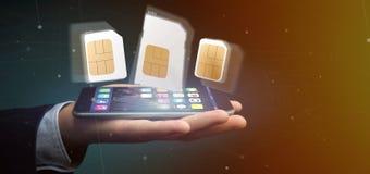Biznesmen trzyma Różnego rozmiar smartphone sim karta 3d r obraz stock