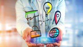 Biznesmen trzyma ręka rysującą ikonę biznes, multimedia Fotografia Stock