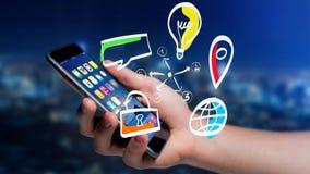 Biznesmen trzyma ręka rysującą ikonę biznes, multimedia Zdjęcie Royalty Free