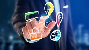 Biznesmen trzyma ręka rysującą ikonę biznes, multimedia Obraz Royalty Free