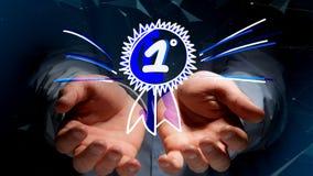 Biznesmen trzyma ręka rysującą nagrodę dla numerowy jeden Obraz Royalty Free