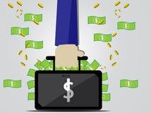 Biznesmen trzyma torbę pieniądze pełno ilustracja wektor
