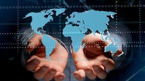 Biznesmen trzyma Związaną światową mapę na futurystycznym interf Zdjęcie Stock