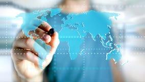 Biznesmen trzyma Związaną światową mapę na futurystycznym interf Zdjęcia Stock