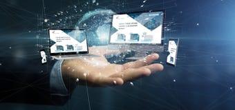 Biznesmen trzymający przyrząda łączących globalnego biznesu sieć obrazy stock