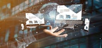 Biznesmen trzymający przyrząda łączących globalnego biznesu sieci 3d rendering zdjęcia royalty free