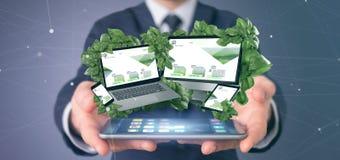 Biznesmen trzymający Związanych przyrząda otacza liśćmi 3d zdjęcia royalty free