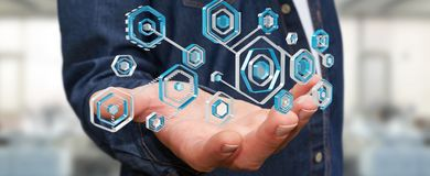 Biznesmen używa antivirus blokować cyber ataka 3D rendering ilustracja wektor