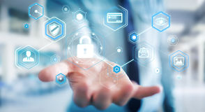 Biznesmen używa antivirus blokować cyber ataka 3D rendering Obrazy Stock