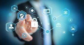 Biznesmen używa antivirus blokować cyber ataka 3D rendering Zdjęcia Stock