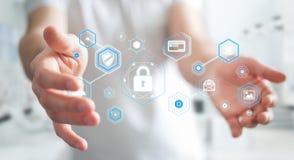 Biznesmen używa antivirus blokować cyber ataka 3D rendering Zdjęcie Royalty Free